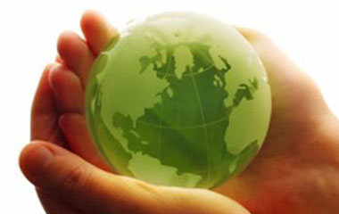 Hands holding sustainable green earth
