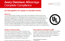 UL Recognition for Labels on Durable Goods