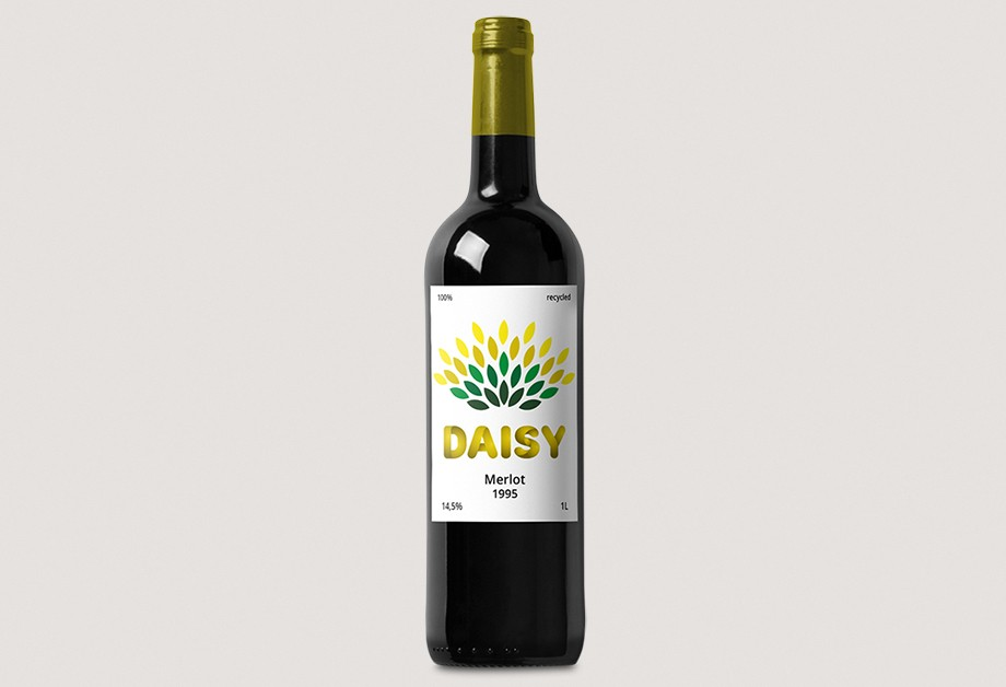 Wine Bottle Label Made Of Renewable Materials