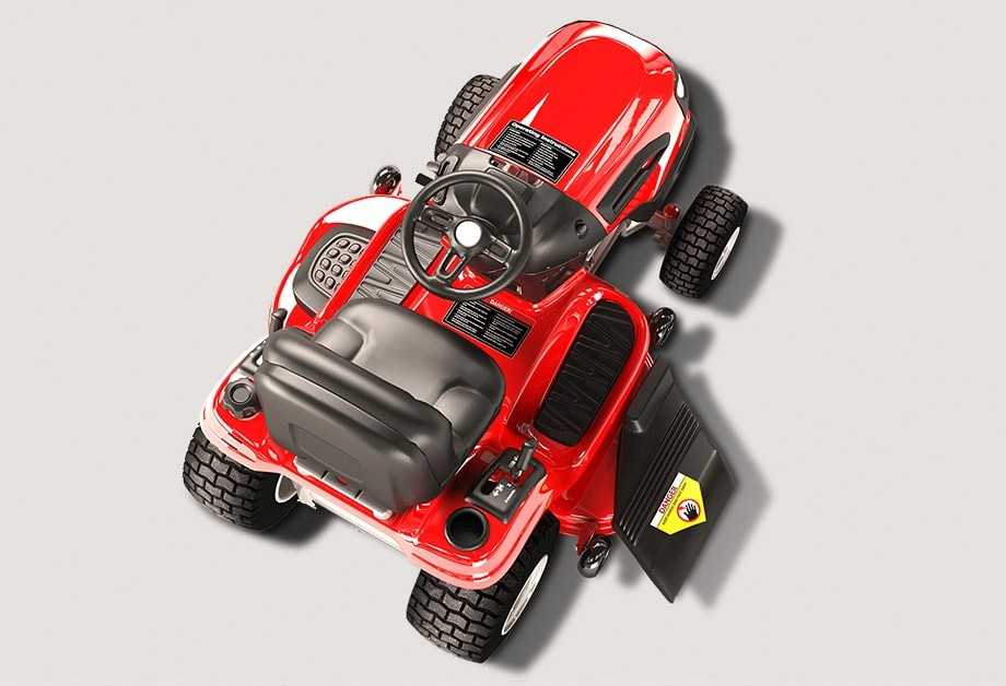 Ride-on mower with Weatherproof Labels