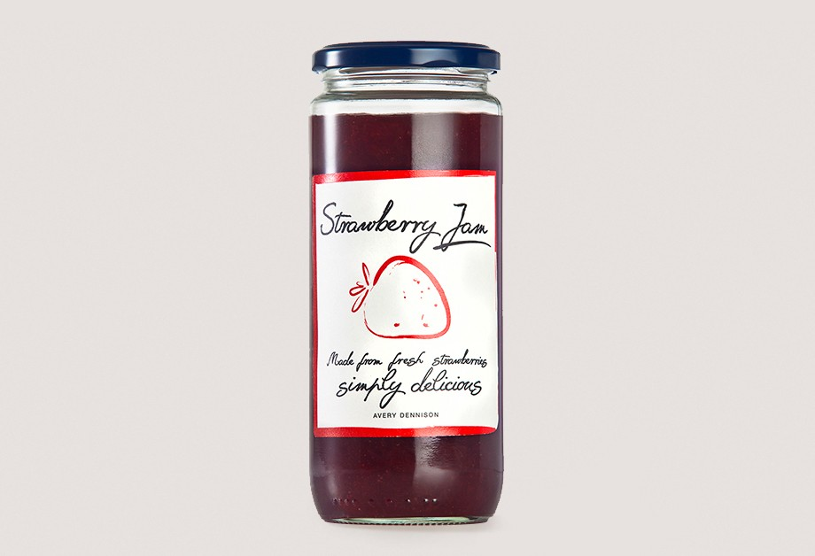 Strawberry jam label printed with electrophotography technology