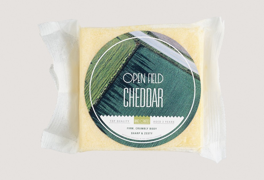 Food label on cheese packaged in clear film
